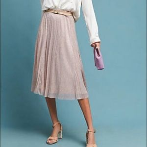 Anthropologie Maeve Pink Shimmer Pleated Skirt